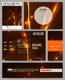 Set of business templates for presentation, brochure, flyer or booklet. Abstract lines background, dynamic glowing Royalty Free Stock Images