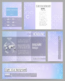 Set of business templates for presentation, brochure, flyer or booklet. Abstract white circles on light blue background Royalty Free Stock Photography