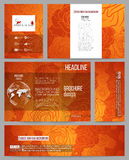 Set of business templates for presentation. Brochure, flyer or booklet. Chinese new year background. Floral design with red monkeys, vector illustration Stock Images