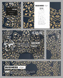 Set of business templates for presentation, brochure, flyer, booklet. Golden microchip pattern, abstract template Stock Image