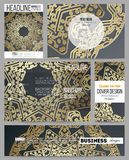 Set of business templates for presentation, brochure, flyer or booklet. Golden microchip pattern on dark background  Royalty Free Stock Photography
