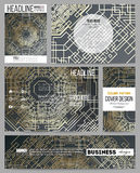 Set of business templates for presentation, brochure, flyer or booklet. Golden technology pattern on dark background Stock Images