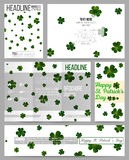 Set of business templates for presentation, brochure, flyer or booklet. St Patricks day vector background, green clovers Stock Image