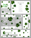 Set of business templates for presentation, brochure, flyer or booklet. St Patricks day vector background, green clovers Stock Images