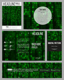 Set of business templates for presentation, brochure, flyer or booklet. Virtual reality, abstract technology background Stock Photos