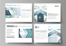 Set of business templates for presentation slides. Abstract design vector layouts. Halftone dotted background, retro Stock Images