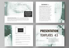 Set of business templates for presentation slides. Abstract design vector layouts. Halftone dotted background, retro. Set of business templates for presentation Royalty Free Stock Images