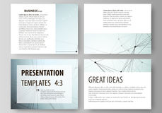 Set of business templates for presentation slides. Abstract vector layouts in flat design. Chemistry pattern, connecting Royalty Free Stock Images