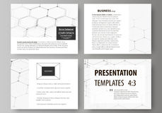 Set of business templates for presentation slides. Abstract vector layouts in flat design. Chemistry pattern, hexagonal Stock Photography