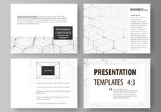 Set of business templates for presentation slides. Abstract vector layouts in flat design. Chemistry pattern, hexagonal Stock Image