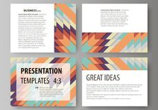 Set of business templates for presentation slides. Abstract vector layouts in flat design. Tribal pattern, geometrical. Set of business templates for Royalty Free Stock Photography