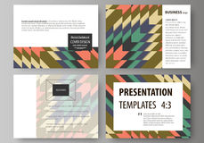 Set of business templates for presentation slides. Abstract vector layouts in flat design. Tribal pattern, geometrical Royalty Free Stock Image