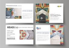 Set of business templates for presentation slides. Abstract vector layouts in flat design. Tribal pattern, geometrical. Set of business templates for Stock Images
