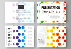 Set of business templates for presentation slides. Abstract vector layouts in flat style. Chemistry pattern, hexagonal Stock Photo