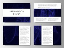 Set of business templates for presentation slides. Colorful design with waves abstract beautiful background. Vector illustration. Set of business templates for Stock Images