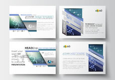 Set of business templates for presentation slides. Easy editable abstract layouts in flat design. DNA molecule structure. Science background. Scientific Royalty Free Stock Photography