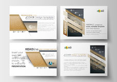 Set of business templates for presentation slides. Easy editable abstract layouts in flat design. Golden technology Royalty Free Stock Image
