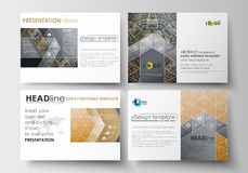 Set of business templates for presentation slides. Easy editable abstract layouts in flat design. Golden technology Royalty Free Stock Photography