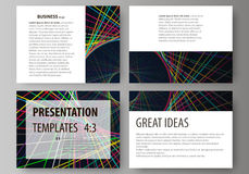Set of business templates for presentation slides. Easy editable abstract vector layouts in flat design. Bright color Royalty Free Stock Photo
