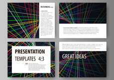 Set of business templates for presentation slides. Easy editable abstract vector layouts in flat design. Bright color Stock Image