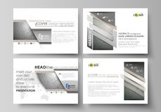 Set of business templates for presentation slides. Easy editable abstract vector layouts in flat design. Chemistry. Pattern, molecule structure on gray Royalty Free Stock Photos