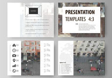 Set of business templates for presentation slides. Easy editable abstract vector layouts in flat design. Colorful. Background made of dotted texture, urban Royalty Free Stock Photography