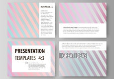 Set of business templates for presentation slides. Easy editable abstract vector. Layouts in flat design. Sweet pink and blue decoration, pretty romantic design Stock Image