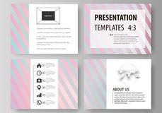 Set of business templates for presentation slides. Easy editable abstract vector layouts in flat style. Sweet pink and. Set of business templates for Royalty Free Stock Image