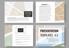 Set of business templates for presentation slides. Easy editable layouts. City map with streets. Flat design template. Set of business templates for presentation Stock Photos