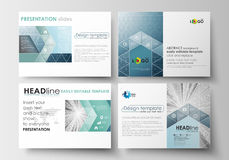 Set of business templates for presentation slides. Easy editable layouts in flat design. Abstract blue or gray pattern. Set of business templates for Royalty Free Stock Photography