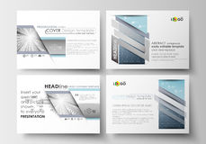 Set of business templates for presentation slides. Easy editable layouts in flat design. Abstract blue or gray pattern. Set of business templates for Stock Images