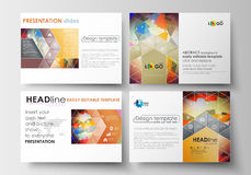 Set of business templates for presentation slides. Easy editable layouts in flat design. Abstract colorful triangular. Set of business templates for presentation Royalty Free Stock Photo