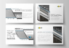 Set of business templates for presentation slides. Easy editable layouts in flat design. Abstract 3D construction and. Set of business templates for presentation Royalty Free Stock Image