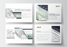Set of business templates for presentation slides. Easy editable layouts in flat design. Dotted world globe with Stock Images