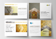Set of business templates for presentation slides. Easy editable layouts in flat design. Islamic gold pattern Stock Photos