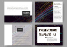 Set of business templates for presentation slides. Easy editable layouts, vector illustration. Abstract waves, lines and Stock Photos