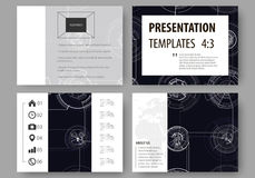Set of business templates for presentation slides. Easy editable layouts, vector illustration. High tech design. Connecting system. Science and technology royalty free illustration
