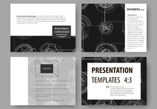 Set of business templates for presentation slides. Easy editable layouts, vector illustration. High tech design. Connecting system. Science and technology vector illustration