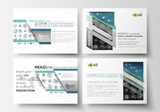 Set of business templates for presentation slides. Easy editable layouts, vector illustration. High tech design. Connecting system. Science and technology stock illustration