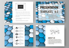 Set of business templates for presentation slides. Easy editable vector layouts in flat design. Blue color hexagons in. Set of business templates for Stock Images