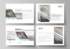 Set of business templates for presentation slides. Easy editable vector layouts in flat design. Colorful background with. Set of business templates for Royalty Free Stock Image