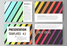 Set of business templates for presentation slides. Vector layouts in flat style. Bright color rectangles, colorful. Set of business templates for presentation Stock Images
