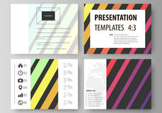 Set of business templates for presentation slides. Vector layouts in flat style.  Stock Images