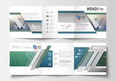 Set of business templates for tri fold brochures. Square design. Leaflet cover, abstract vector layout. Chemistry Royalty Free Stock Photography