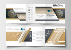 Set of business templates for tri-fold brochures. Square design. Leaflet cover, flat layout. Golden technology Stock Images