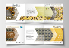 Set of business templates for tri-fold brochures. Square design. Leaflet cover, flat layout. Islamic gold pattern Royalty Free Stock Photos