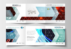 Set of business templates for tri-fold square brochures. Leaflet cover, flat layout, easy editable blank. Abstract lines Royalty Free Stock Photography