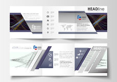 Set of business templates for tri fold square brochures. Leaflet cover, flat layout, easy editable vector. Abstract Stock Images