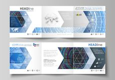 Set of business templates for tri fold square design brochures. Leaflet cover, abstract flat layout, easy editable. Vector. Blue color background in minimalist Stock Image
