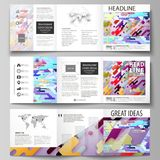 Business templates for tri fold square design brochures. Leaflet cover, abstract vector layout. Bright color lines and. Set of business templates for tri fold Stock Photography